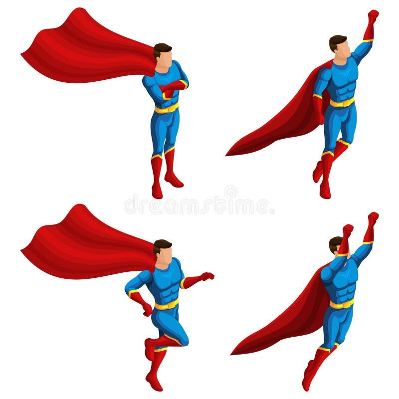 Isometrics A set bohaterów mężczyźni w kostiumu, biega, skoki, pośpiechy ratunek, 3D super mężczyzna, bohaterzy, ratownika wektor royalty ilustracja