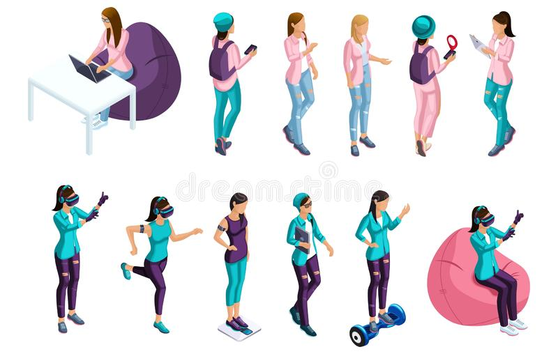 Isometrics set of vector people, 3d characters teenagers, girls, gamers. Front view rear view. Summer vector illustration royalty free illustration