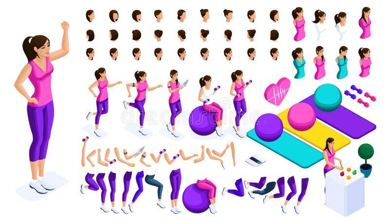 Isometrics skapar din idrottsman nen, stor uppsättning av sinnesrörelser, gester av händer, fotförehavanden, sportutrustning Skap stock illustrationer