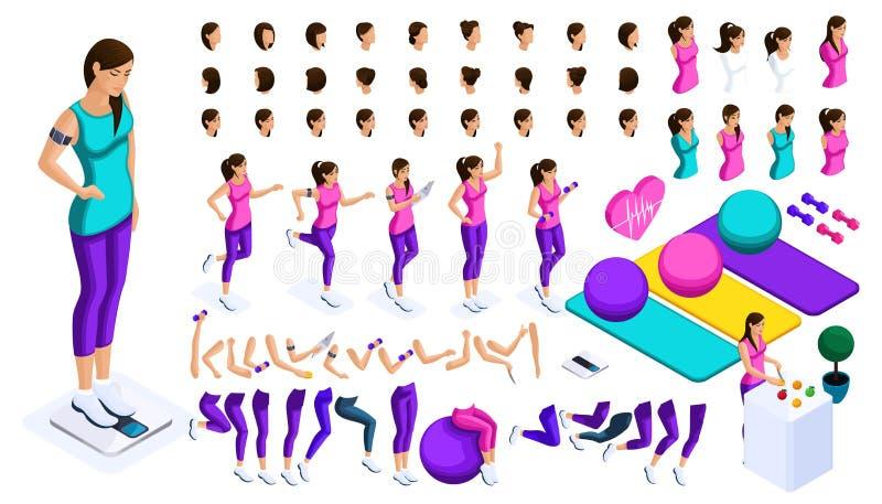 Isometrics skapar din idrottsman nen, stora sinnesrörelser för en uppsättning, gesthänder, fotförehavanden, en sund livsstil Skap stock illustrationer