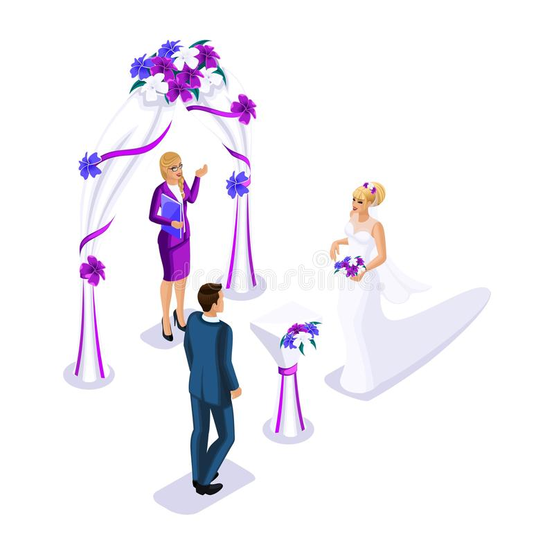 Isometrics visiting wedding ceremony, bride and groom registration of marriage, employee of registry office concludes marriage.  stock illustration