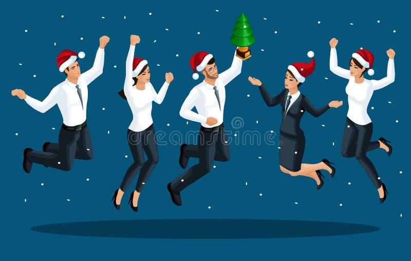 Isometrics von Männern und die Frauen in der Bürokleidung springen, freuen sich, glücklich, Santa Claus-Kappensprünge Sieg feiern vektor abbildung