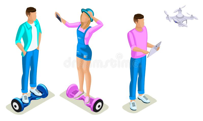 Isometrics young people, generation Z, teenagers using hoverboard. The gyroscope based dual wheel electric scooter, smart balance stock illustration