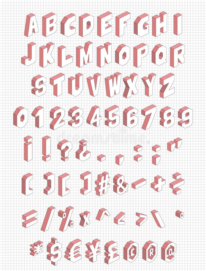 Isometrisch alfabet met brieven, aantallen etc. 71 symbolen geplaatst Vectorillustratie stock illustratie