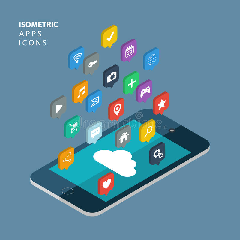 Isometrisch app pictogrammenconcept SMAU 2010 - de wolk van Microsoft gegevensverwerking royalty-vrije illustratie
