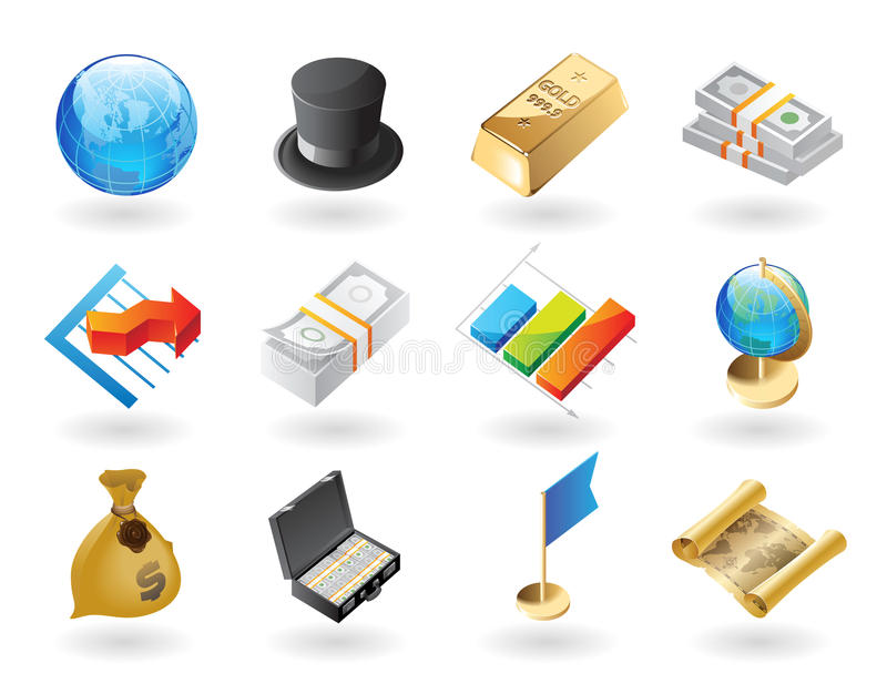Isometrisch-Art Ikonen für globale Finanzierung lizenzfreie abbildung