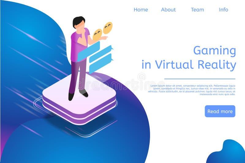 Isometrisch Bannergokken in Virtuele Werkelijkheid in 3d royalty-vrije illustratie