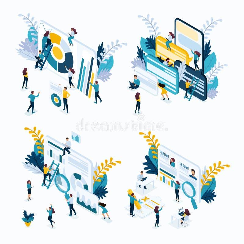 Isometrisch Bedrijfsconcept, Jonge Ondernemers stock illustratie