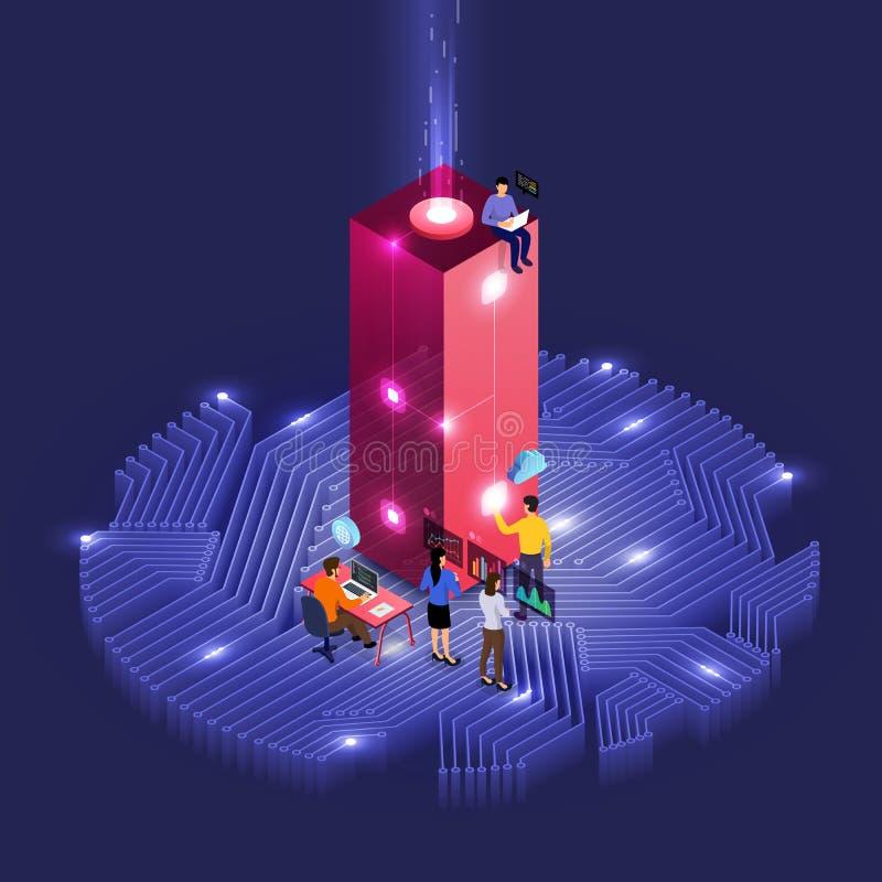 Isometrisch bedrijfsgroepswerk stock illustratie