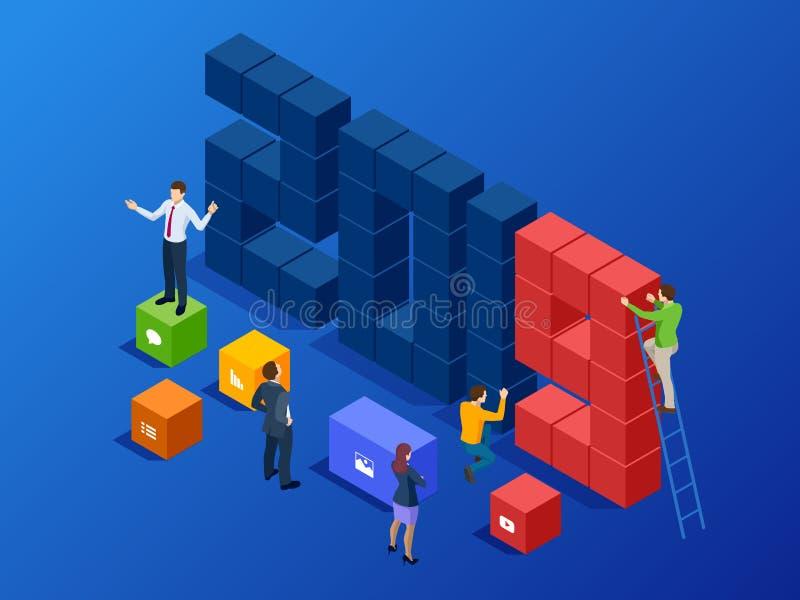 Isometrisch Bedrijfsnieuwjaar 2019 concept, Digitale technologieën Bedrijfsoplossing, planningsideeën Nieuwe innovatieve ideeën vector illustratie