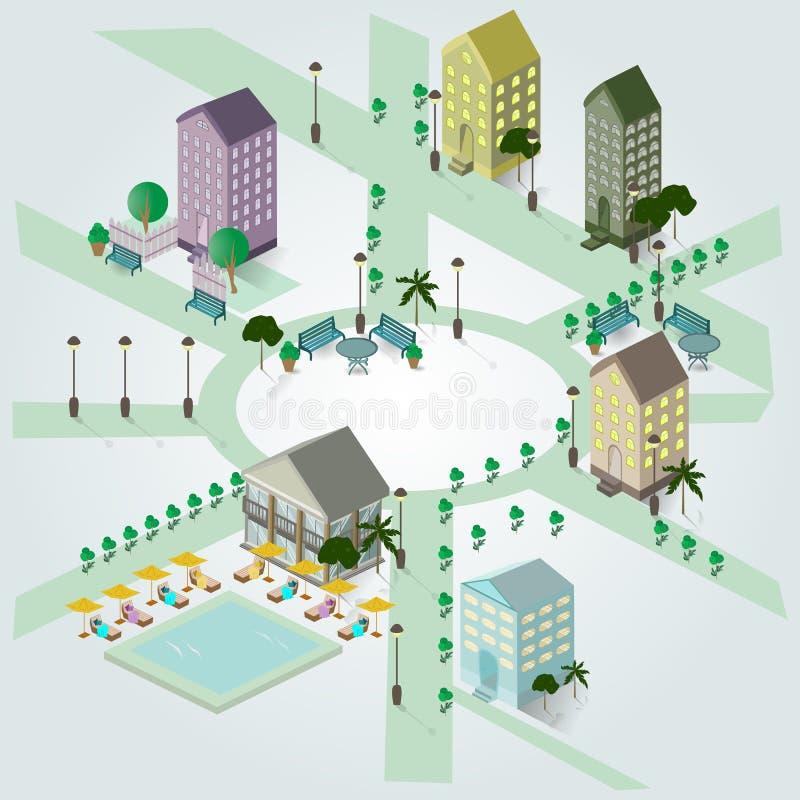 Isometrisch beeld van een fragment van de stad, huizen, zwembad stock foto's