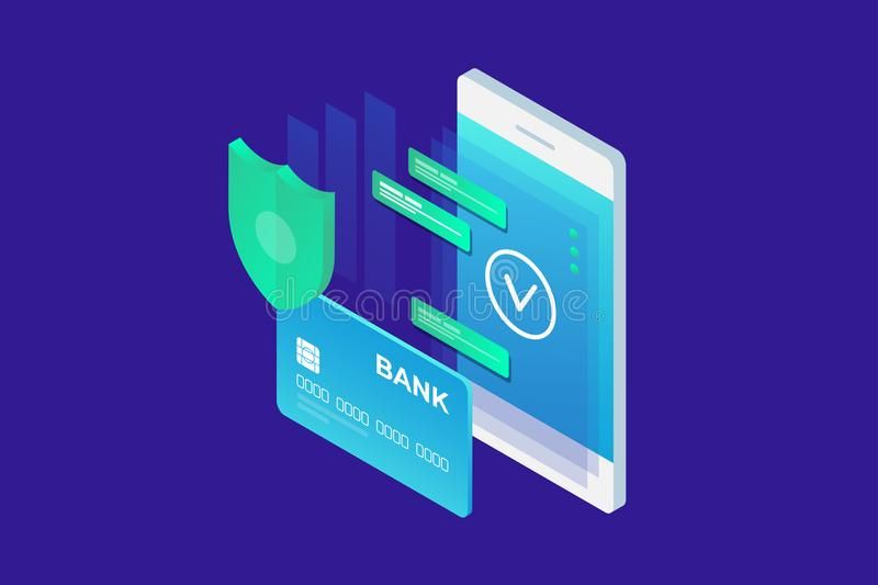 Isometrisch beeld van telefoon en Betaalpas op blauwe achtergrond Concept mobiele betalingen, persoonlijke gegevensbescherming royalty-vrije illustratie
