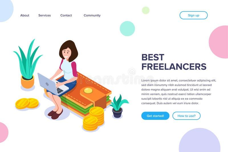 Isometrisch Beste Freelancers-Concept Een meisje met laptop werkt zitting aan een beurs met geld en muntstukken vector illustratie