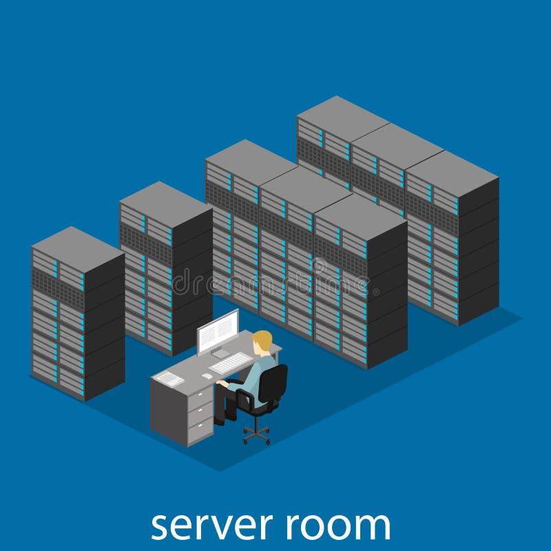 Isometrisch binnenland van serverruimte stock illustratie