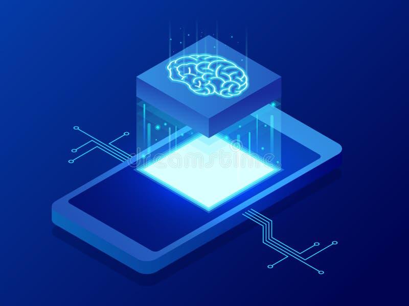 Isometrisch bot van de Wetenschapsleraar concept De kunstmatige intelligentie, de Intelligentie van de Kennisdeskundigheid leert  vector illustratie