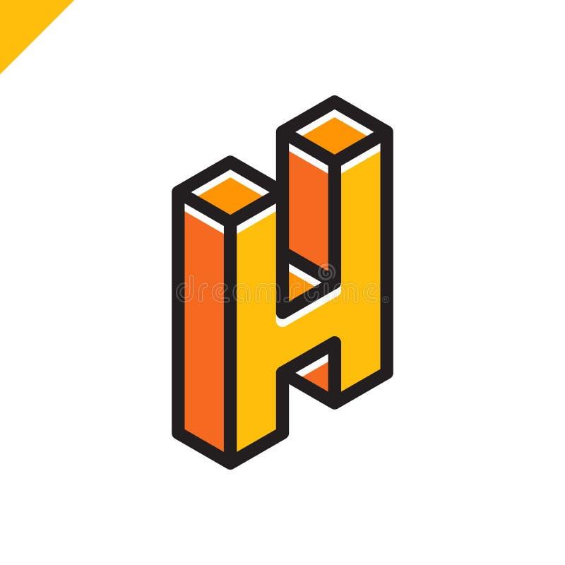 Isometrisch brievenh embleem Abstracte en eenvoudige vector logotype vector illustratie