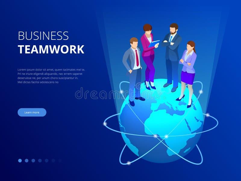 Isometrisch commercieel team, bedrijfsmensenconcept De banner van het Web De bedrijfsmensen bevinden zich op een wereldbol Nieuwe stock illustratie