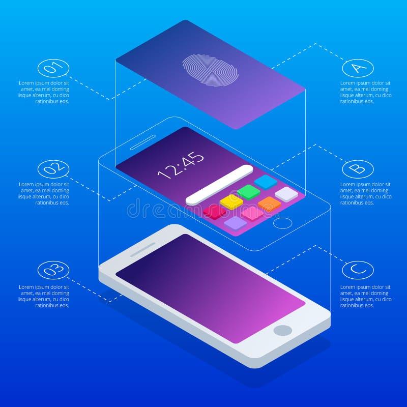 Isometrisch concept aftastenvingerafdruk op smartphone, op blauwe achtergrond Open Mobiele Telefoon Illustratie van vector illustratie