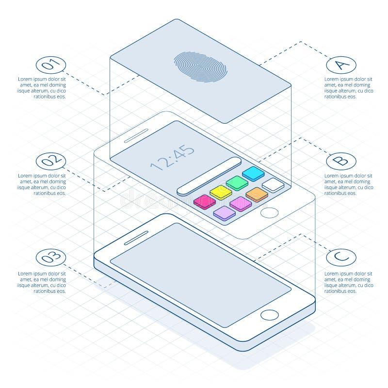 Isometrisch concept aftastenvingerafdruk op smartphone, op overzicht Open Mobiele Telefoon Illustratie van identificatie stock illustratie