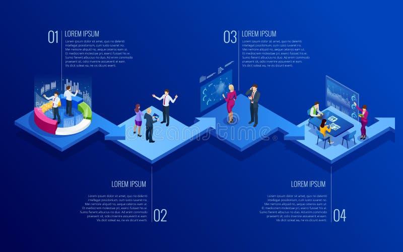 Isometrisch concept analytics, strategie, investering, beheer, Investering, en virtuele financiën Mededeling en vector illustratie