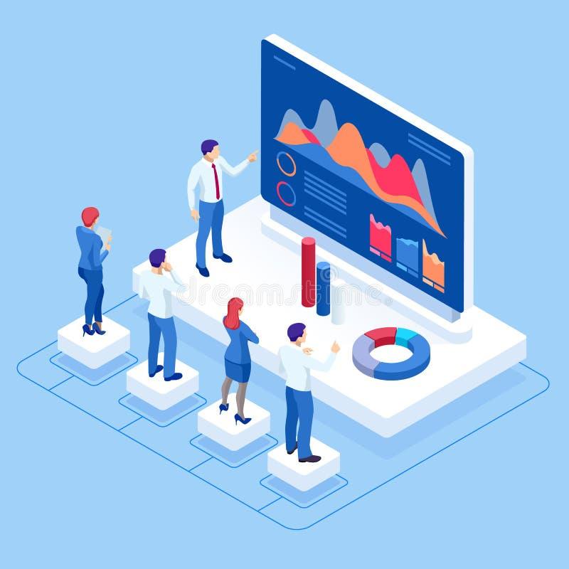 Isometrisch concept bedrijfsanalyse, analytics, onderzoek, strategiestatistiek, planning, marketing, studie van stock illustratie