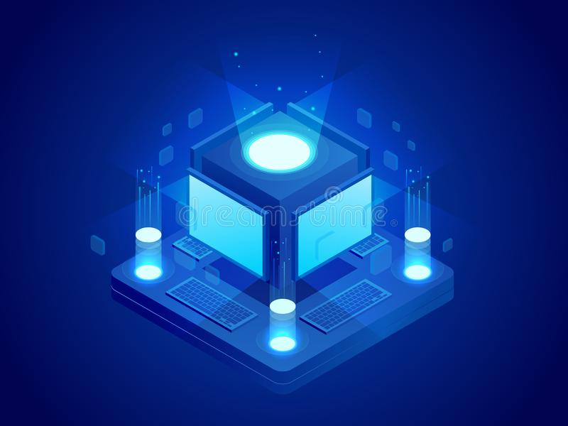 Isometrisch concept de computers van kunstmatige intelligentiecontroles of Internet, digitaal netwerk Chatbot, videouitzending royalty-vrije illustratie