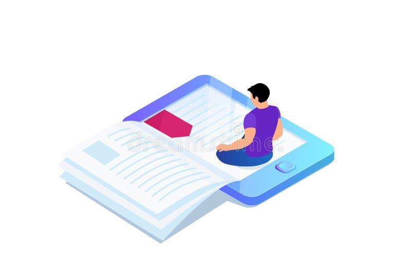 Isometrisch concept e-book, referentie in apparaat stock illustratie