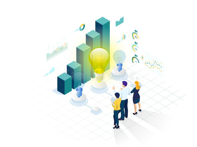 Isometrisch concept Idee, commerciële vergadering en brainstorming, startteam in een vergadering en creatief groepswerk royalty-vrije illustratie