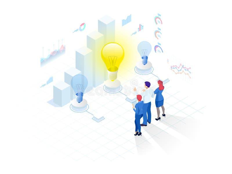Isometrisch concept Idee, commerci?le vergadering en brainstorming, startteam in een vergadering en creatief groepswerk stock illustratie