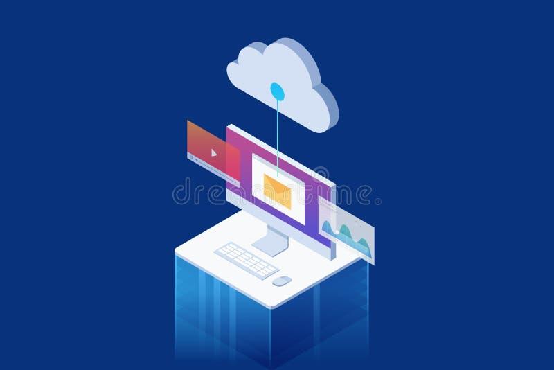 Isometrisch concept Lcd monitor met verschillende toepassingen: Webgrafiek, e-mail, speler royalty-vrije illustratie