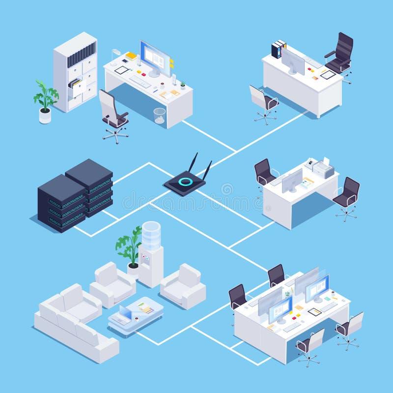 Isometrisch concept lokaal netwerk in bureau vector illustratie