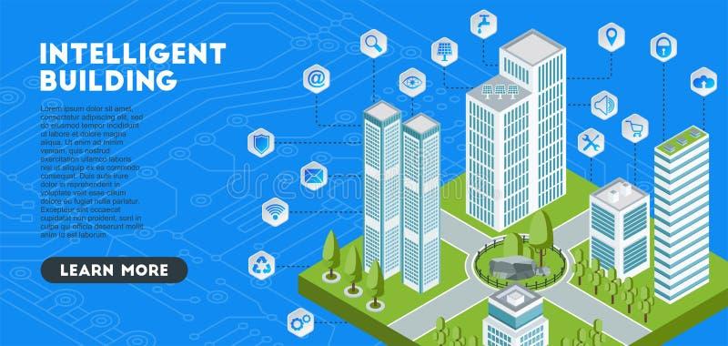 Isometrisch concept met intelligente gebouwen Wolkenkrabbers in een slimme stad vector illustratie