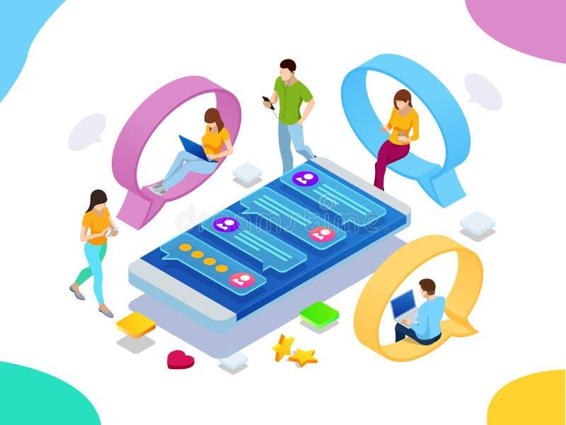 Isometrisch concept sociaal media netwerk, digitale mededeling, het babbelen Online van de praatjeman en vrouw app pictogrammen p royalty-vrije illustratie