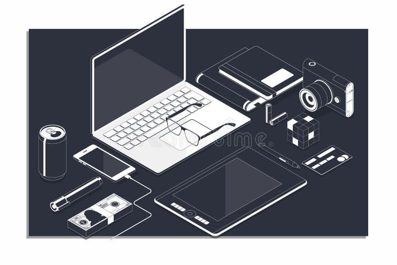 Isometrisch concept werkplaats met computer en kantoorbenodigdheden royalty-vrije illustratie