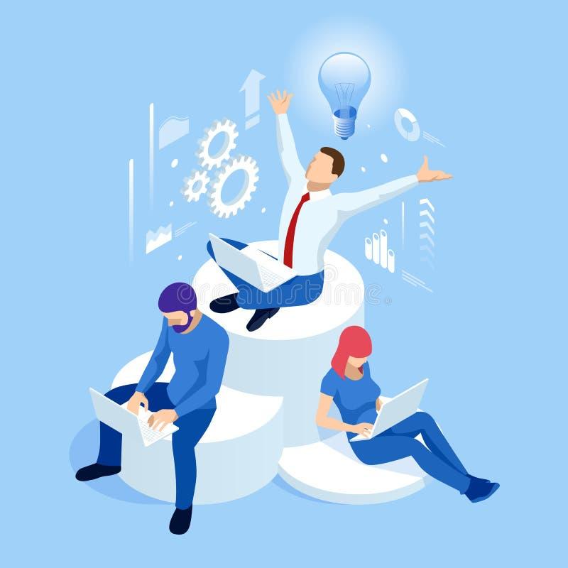 Isometrisch creatief idee en innovatieconcept Nieuwe idee?n met innovatieve technologie en creativiteit Hersenenbol vector illustratie