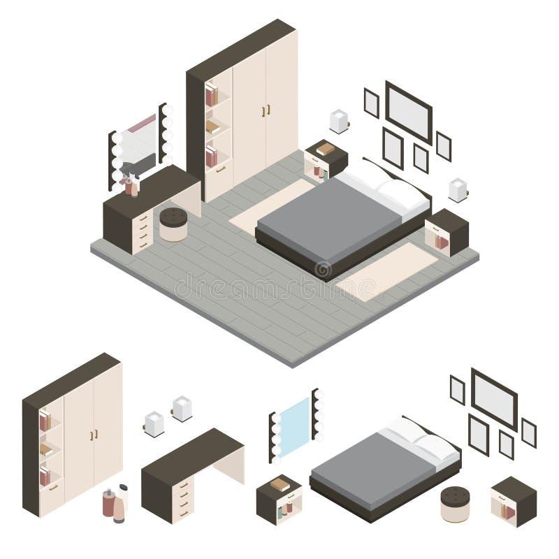 Isometrisch creeer een Reeks van het Slaapkamerpictogram royalty-vrije illustratie