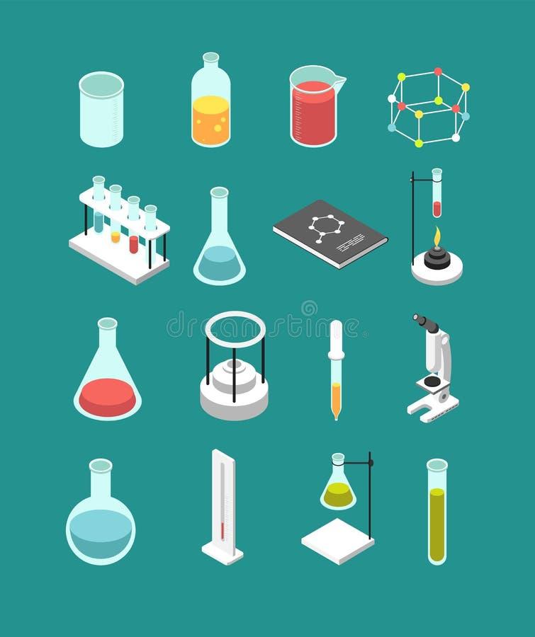 Isometrisch 3d chemisch laboratoriummateriaal De chemie schrijft vector geïsoleerde pictogrammen toe stock illustratie