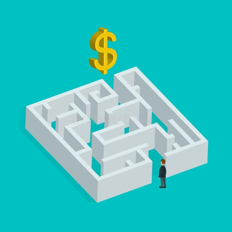 Isometrisch 3d creatief bedrijfsconcept Labyrintoplossing en zakenman Vector vlakke illustratie Op zoek naar winst vector illustratie