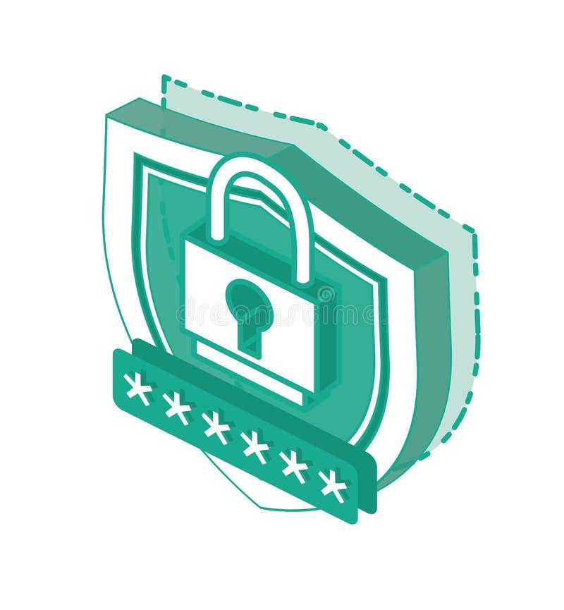 Isometrisch 3d Cyber-Veiligheidsconcept Het Pictogram van het overzichtsschild en Veilig die Wachtwoord op Witte Achtergrond word vector illustratie