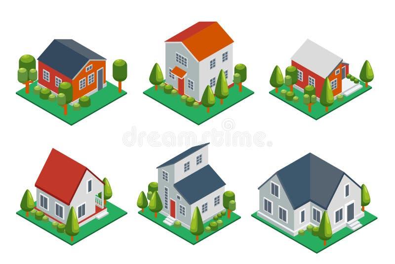 Isometrisch 3d privé huis, landelijke gebouwen en stock illustratie