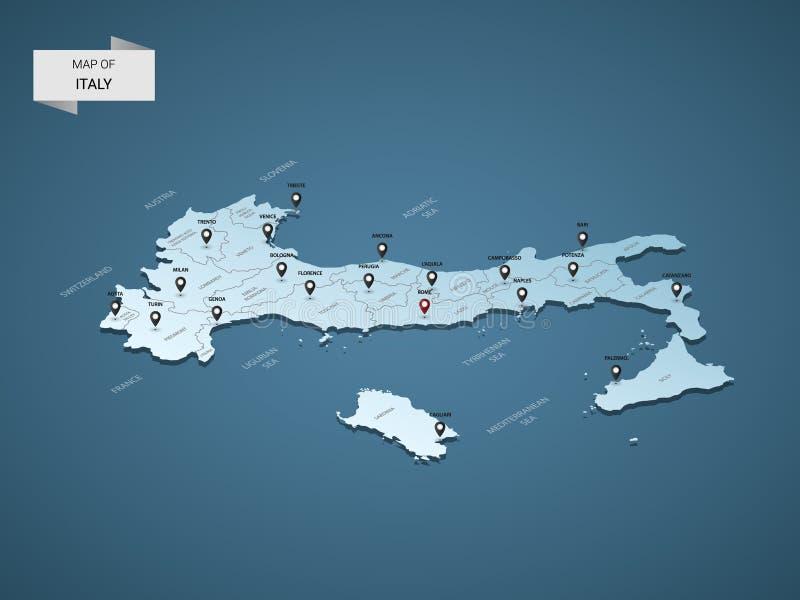 Isometrisch 3D vector de kaartconcept van Italië stock illustratie