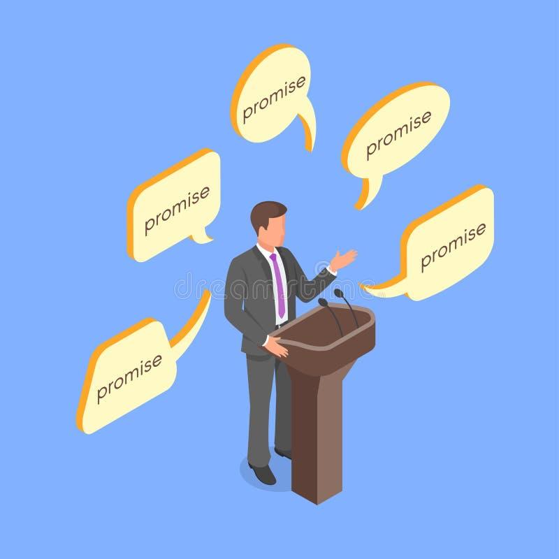Isometrisch 3d vectorconcept die politicus lege beloften geven royalty-vrije illustratie