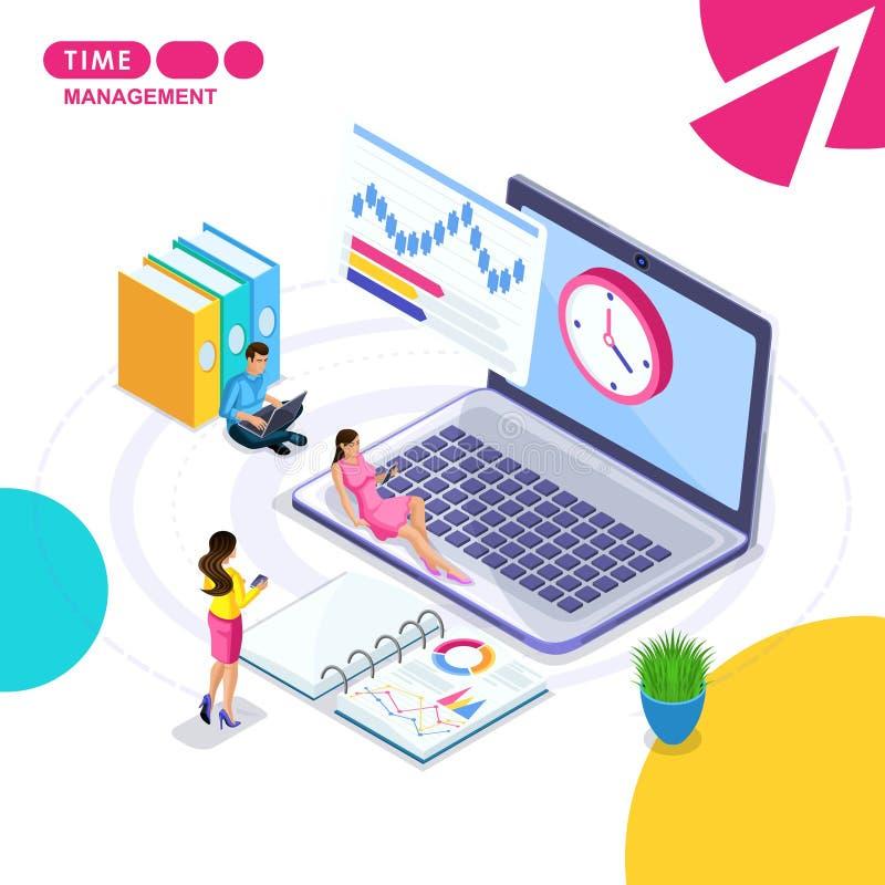 Isometrisch das Konzept des Geschäfts, Zeitmanagement, Fall, der, Terminplanung, planend plant vektor abbildung