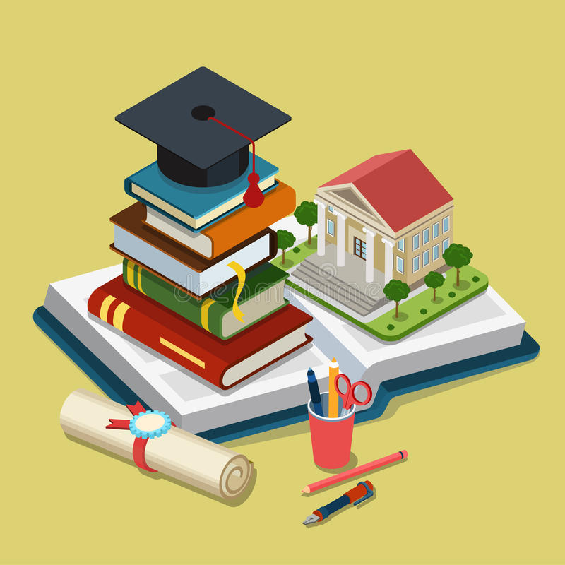 Isometrisch de graduatie vlak 3d Web van het universiteits universitair onderwijs