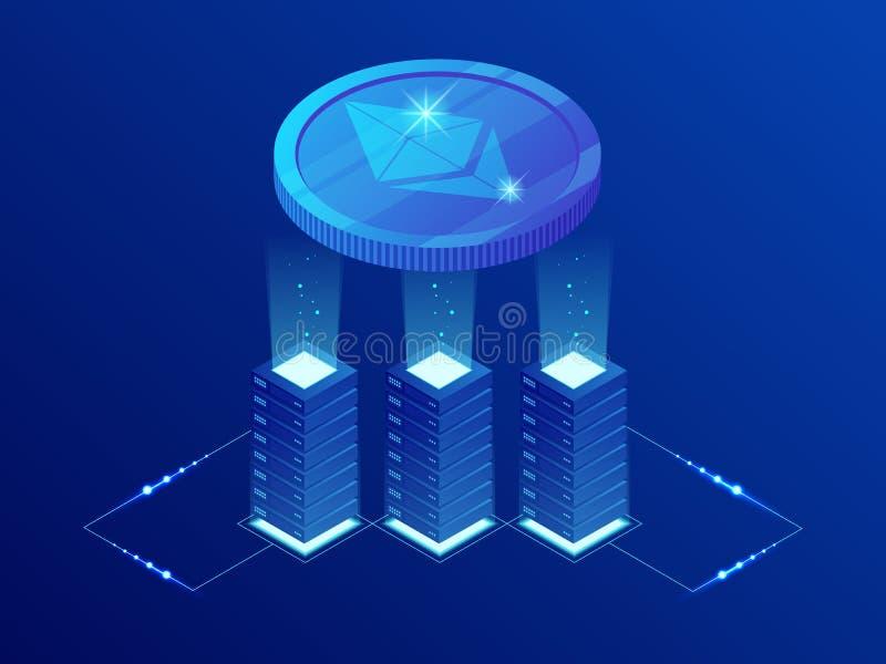 Isometrisch de mijnbouwlandbouwbedrijf van ETHEREUM ETH Cryptocurrency Blockchaintechnologie, cryptocurrency en een digitaal beta vector illustratie