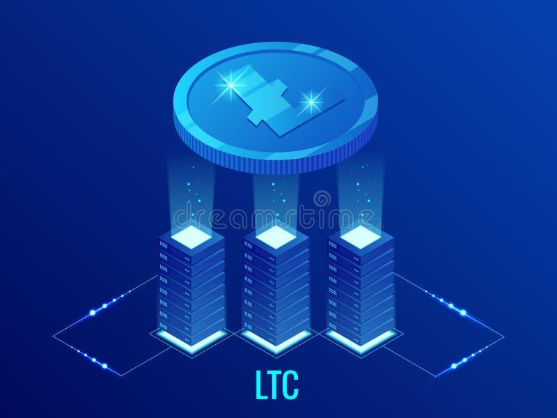 Isometrisch de mijnbouwlandbouwbedrijf van Litecoin LTC Cryptocurrency Blockchaintechnologie, cryptocurrency en een digitaal beta royalty-vrije illustratie