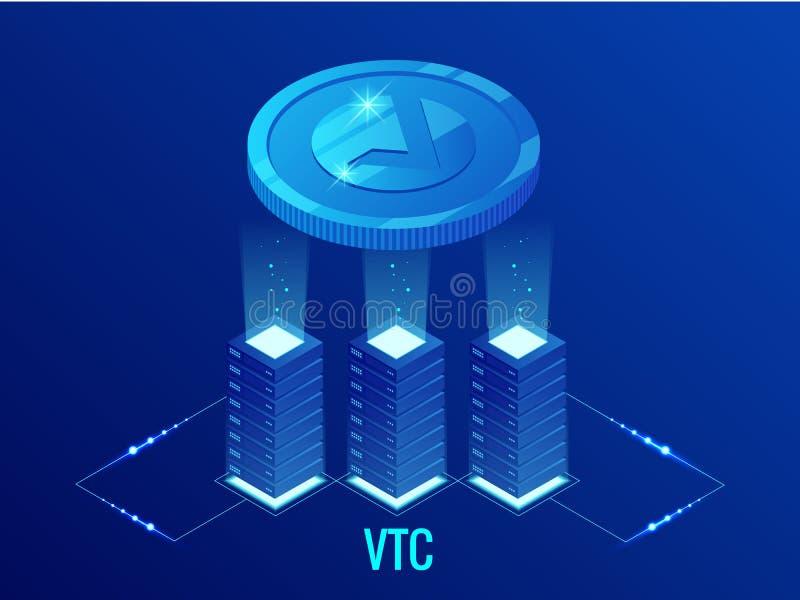 Isometrisch de mijnbouwlandbouwbedrijf van Vertcoin VTC Cryptocurrency Blockchaintechnologie, cryptocurrency en een digitaal beta royalty-vrije illustratie