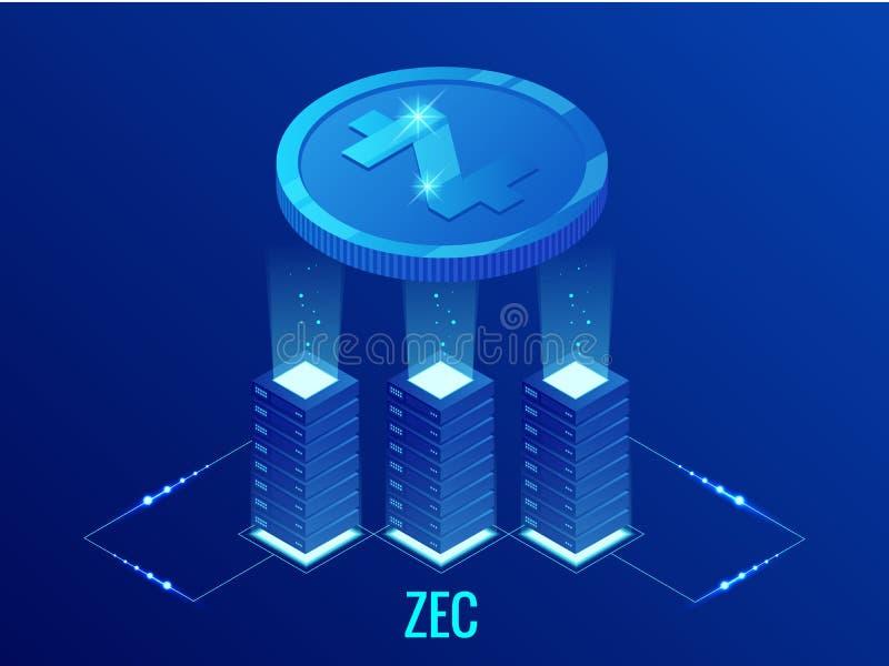 Isometrisch de mijnbouwlandbouwbedrijf van ZCASH Cryptocurrency Blockchaintechnologie, cryptocurrency en een digitaal betalingsne vector illustratie