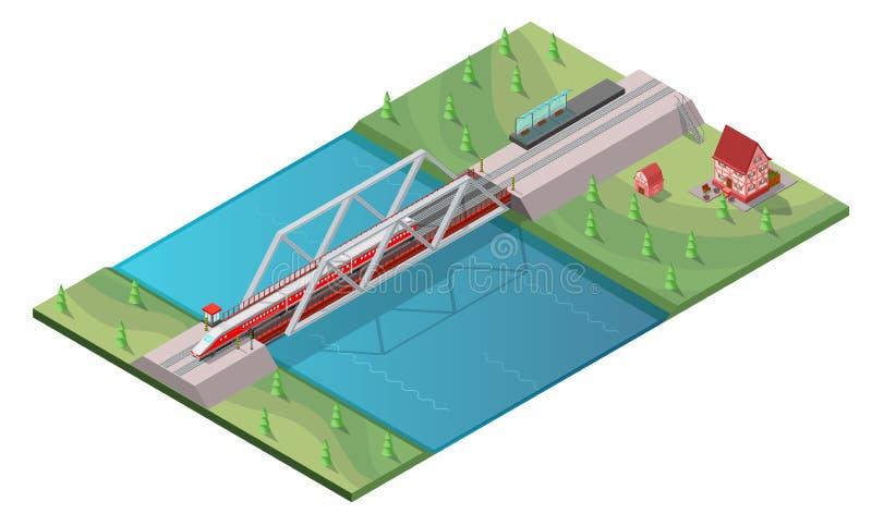 Isometrisch de Treinconcept van de Passagiershoge snelheid vector illustratie