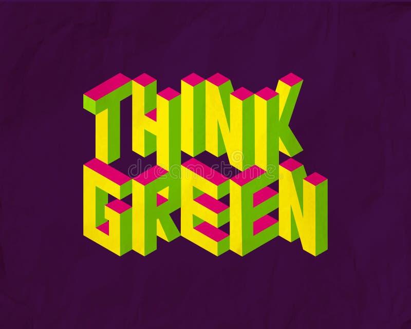 Isometrisch denk Groene citaatachtergrond vector illustratie